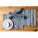 Chardin Home Eco Friendly Denim/Jute Placemats (Set of 4), Size: 14''x19''