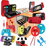 Switch Accessories Bundle - Orzly Geek Pack for Nintendo Switch: Case & Screen Protector, Joycon Grips & Racing Wheels, Switc