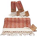 Smyrna Original Turkish Hand Towels Herringbone Series Set of 2   100% Cotton, 16 x 40 Inches   Decorative Bathroom Peshtemal