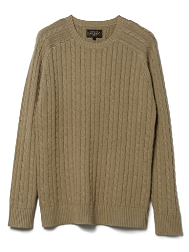 Blended Linen Cotton Cable Crewneck Sweater 11-15-0812-103: Beige