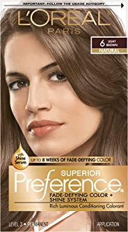 LOreal Paris Superior Preference Fade-Defying Color # 6 Light Brown - Natural by LOreal Paris for Unisex - 1 Application Hair