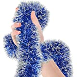 Treasures Gifted Frosted Tip Royal Blue Tinsel Garland Celebrate a Holiday Christmas New Years Eve Party Indoor and Outdoor D