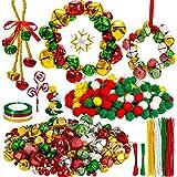 Whaline 536Pcs Christmas Jingle Bell Wreath Ornament Craft Kit Jingle Bell Metallic Chenille Stems Glitter Pompoms Ribbon Cot