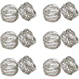 SKAVIJ Napkin Rings Set of 12 for Dinner Parties, Holidays, Dining Table Decoration Handmade Metal Napkin Holder Silver