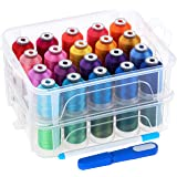 New brothread 40 Brother Colors 500m Each Embroidery Machine Thread with Clear Plastic Storage Box for Embroidery Sewing Mach