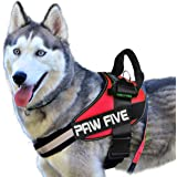 Paw Five CORE-1 No-Pull Reflective Dog Harness with Built-in Waste Bag Dispenser Adjustable Padded Control for Medium and Lar