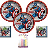 Marvel Powers Unite Captain America Party Supplies Pack Serves 16: Dessert Plates and Beverage Napkins with Birthday Candles