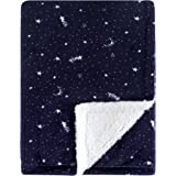 Yoga Sprout Mink Blanket with Sherpa Backing, Moon, One Size