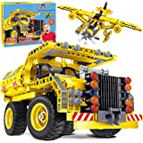 STEM Toys Building Sets for Boys 8-12 - 361 Pcs Construction Engineering Kit Builds Dump Truck or Airplane (2in1) STEM Buildi