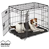 "Dog Crate | Midwest ICrate 24"" Double Door Folding Metal Dog Crate w/Divider Panel, Floor Protecting Feet & Leak-Proof Dog Tr"