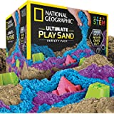 NATIONAL GEOGRAPHIC Play Sand Combo Pack - 2 LBS Each of Blue, Purple and Natural Sand with Castle Molds - A Kinetic Sensory