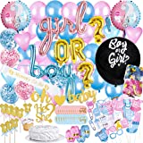 Baby Gender Reveal Party Supplies and Decorations (111 Piece Premium Kit) Pink and Blue Balloons, 36 inch Gender Reveal Ballo