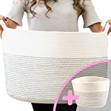 "Little Hippo 2pc XXXL Large Cotton Rope Basket (22""x14"") 100% Natural Cotton! Rope Basket, Woven Storage Basket, Large Basket"