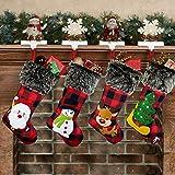 Hiquaty Christmas Stockings Plaid 4 Pack, 18 Inches Burlap Stocking Plaid Style with Santa Snowman Reindeer Tree Xmas Stockin