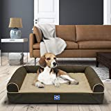 "Sealy Ultra Plush Sofa-Style Bolster Orthopedic Dog Bed Brown Small (20"" x 25"")"