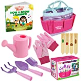 Kids Gardening Tools - Includes Sturdy Tote Bag, Watering Can, Gloves, Shovels, Garden Stakes, and a Delightful Children's Bo