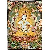 Prime Feng Shui Silk Embroidery Tibetan Vajrasattva Thangka Wall Hanging for Home Décor Thangka Meditation