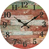 Stonebriar SB-6149A Rustic 12 Inch Round Wooden Wall Clock, Battery Operated, Vintage Farmhouse Wall Decor for the Kitchen, L