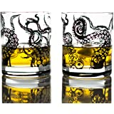 Greenline Goods Whiskey Glasses - 10 Oz Tumbler Gift Set – Kraken Whiskey Glasses (Set of 2) | Rocks Glass Octopus Decor | Ol