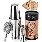 Cocktail Shaker Boston Shaker Set: Professional Weighted Martini Shakers with Cocktail Strainer and Japanese Jigger | Portabl