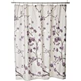 Madison Park 100% Cherry Blossom Printed Design Holly Modern Cotton Fabric Long, Floral Shower Curtains for Bathroom, 72 X 72