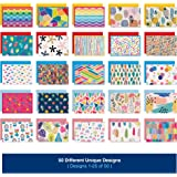 50 Blank Cards With Envelopes - Set of 50 Different 4x6 Inch Blank Greeting Cards w/Colored Envelopes & Gold Seals. Colorful