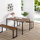Zinus Louis Modern Studio Soho Dining Brown Table Set with Two Benches | 3 Pieces Dining Set | Easy Assembly Industrial Dinin