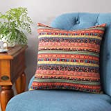 TAOSON Red Stripe Bohemian Style Antique Cotton Blend Linen Sofa Throw Pillowcase Cushion Cover Pillow Cover with Hidden Zipp