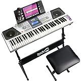 RockJam RJ661-SK 61 Keyboard Piano Kit 61 Key Digital Piano Keyboard Bench Keyboard Stand Headphones Piano Note Stickers and