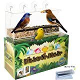 Entirely Zen Window Bird Feeder - Bird Feeders for Outside w/Easy Lift Bird Seed Tray, Strong Suction Cup Mount, Mirror Film