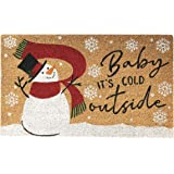 Elrene Home Fashions Farmhouse Living Snowman Baby It's Cold Outside Winter Holiday Coir Doormat for Entryway/Front Door/Porc