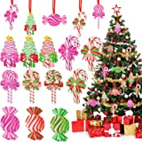 24 Pieces Christmas Tree Ornaments Set Candy Christmas Ornaments Peppermint Decor Colorful Wood Candy Cane Candies Round Cand