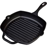 Pre-Seasoned Victoria Cast Iron Square Grill Pan, 10-inch Grilling Pan with Helper Handle, 100% Non-GMO Flaxseed Oil Seasoned