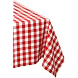 DII 100% Cotton, Machine Washable, Dinner, Summer & Picnic Tablecloth 60 x 84, Tango Red Check, Seats 6 to 8 People