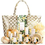 Spa Luxetique Spa Gift Basket, Vanilla Gift Baskets for Women, Luxury 15 Pcs Bath Gift Set, Relaxing at Home Bath Set with Ma