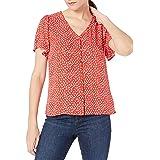 Amazon Brand - Goodthreads Women's Fluid Twill Covered-Button Short-Sleeve Shirt