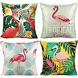 (Flamingo) - VAKADO Tropical Flamingo Outdoor Throw Pillow Covers Case Decorative Leaves Cushion Quote Cotton Linen 46cm x 46