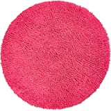 Chardin Home - Chenille Shaggy Round Cotton Bath mat, Hot Pink, 24 Inch Round, with Latex Anti Skid Back.