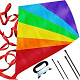 Large Diamond Kite for Kids - Lightweight, Easy to Assemble and Fly, Soars High in Low Wind Speeds - A Great Way to Enjoy and