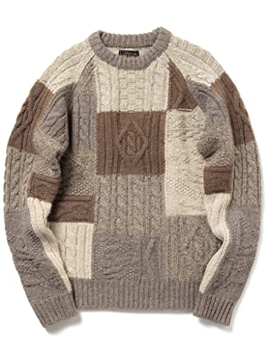 Crazy Pattern Cable Patchwork Wool Crewneck Sweater 11-15-0693-048: Brown
