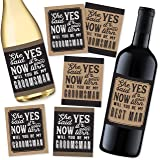 6 Will You Be My Groomsman + 1 BONUS Best Man Proposal Wine, Beer, Whiskey, Liquor Bottle Labels or Stickers Set, Wedding Eng