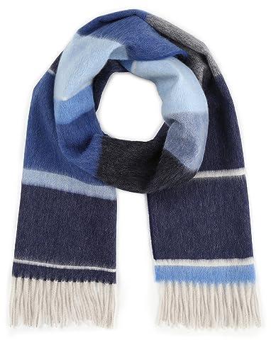 Wool Angora Stripe Scarf 118-35-0192: Blue