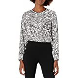 Lark & Ro Women's Crepe de Chine Long Sleeve Contrast Piping Detail Blouse