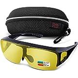 Br'Guras サングラス スポーツ 運転用サングラス メンズ 偏光 UV400 紫外線カット メガネの上から掛け 跳ね上げ式 防風防砂 自転車/釣り/ランニング