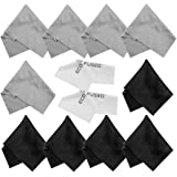 Eco-Fused Microfiber Cleaning Cloths - 10 Cloths and 2 White Cloths - Ideal for Cleaning Glasses, Camera Lenses, Tablets, iPh