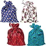 Touchstone Gorgeous Indian Traditional Indian Heritage Print/Paisley Brocade Large Drawstring Purse Bag Pouch Potli for Gift