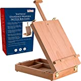 (Standard Easel) - U.S. Art Supply Beachwood Artist Drawing and Painting Sketch Box Easel - Adjustable Design with Divided St