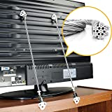 Metal Anti-Tip TV and Furniture Safety Straps Pack of 2- Childproof Wall Straps with Adjustable Length for Baby Proofing,with