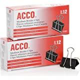 ACCO Binder Clips, Medium,Black, 2 Boxes, 12/Box (A7072062)