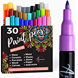 Acrylic Paint Pens for Rock, Stone, Ceramic, Glass, Mugs, Wood, Metal, Fabric, Canvas (30 Pack) 28 Assorted Colors + Extra Bl